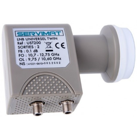 LNB TWIN 2 sorties SERVIMAT compatible HD, HD+ et Ultra HD